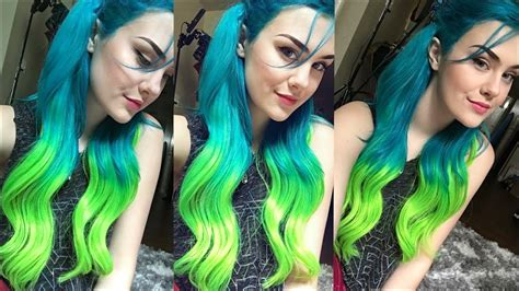 Lime Green And Turquoise Hair Dye Diy Tutorial Coloring