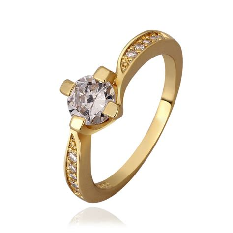 24k gold plated finger ring wedding rings for women crystal jewelry engagement casamento
