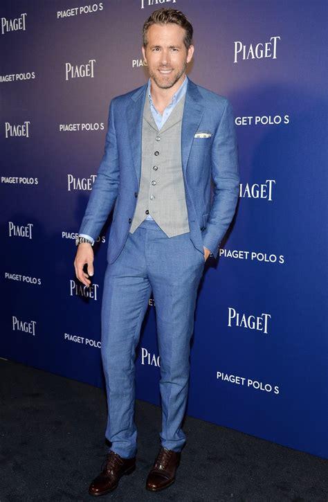 ryan reynolds attends piaget event  blue  piece suit instylecom