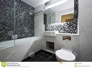 Salle De Bain Contemporaine : contemporary en suite bathroom in black and white stock ~ Dailycaller-alerts.com Idées de Décoration