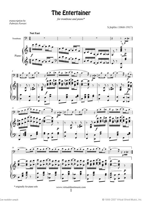 You've found the free sheet music and tab for the entertainer by scott joplin. Joplin - The Entertainer sheet music for trombone and piano PDF