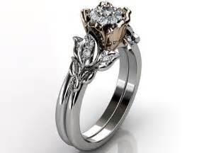 flower wedding ring set flower engagement ring set 14k white and gold cluster setting flower wedding band