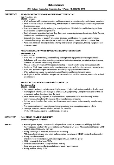 manufacturing engineering technician resume samples