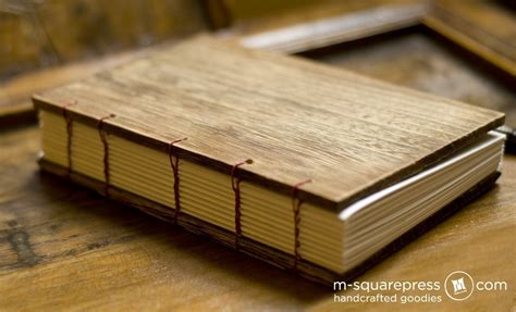 paulownia wooden handcrafted journal  square press