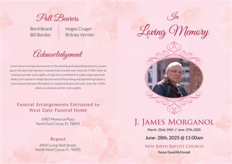 funeral bi fold brochure templates psd format