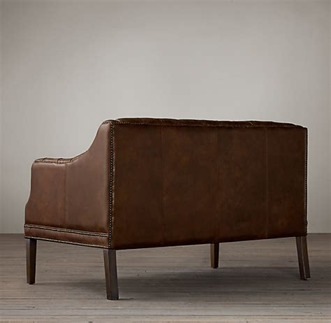 Tufted Leather Settee by Everett Tufted Leather Settee
