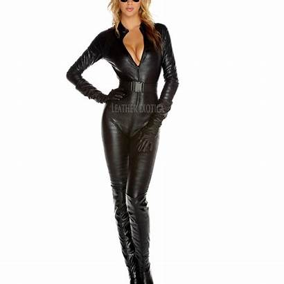 Villain Leather Halloween Costume Sultry Allure Jumpsuit