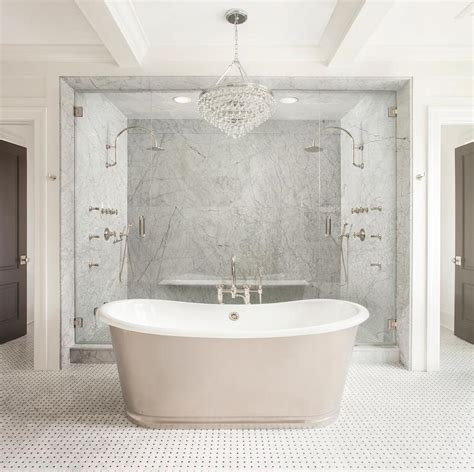 his and shower tub in front of shower design ideas