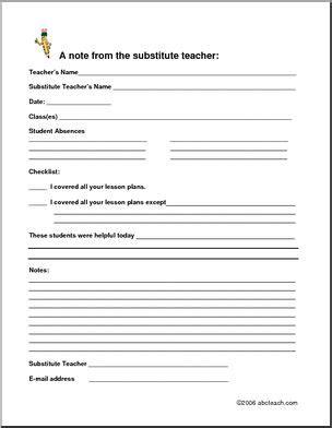free substitute teacher forms substitute teacher form abcteach