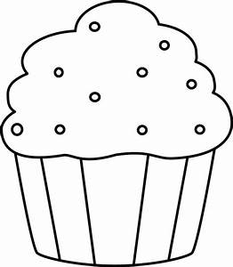 Black and White Cupcake with Sprinkles Clip Art - Black ...