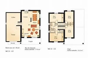 plan du modele mc23 maison sur 1 2 niveau la maison des With plan maison 2 niveaux