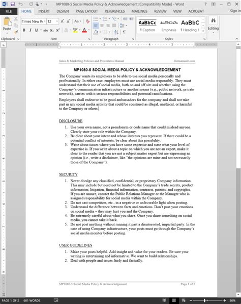 social media policy acknowledgement template mp