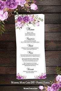 Pictures Of Wedding Seating Charts Wedding Menu Card Romantic Blossoms Purple Printable Diy