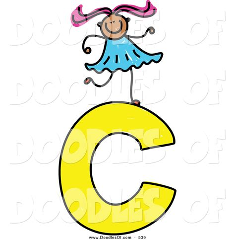 C Clipart Vector Clipart Of A Doodled On A Capital Letter C By