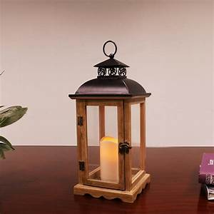 14-1, 2, In, Tall, Wood, And, Metal, Lantern, With, Led, Candle-163-lnw7049x