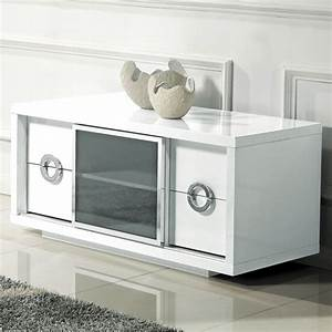 Meuble Haut Blanc Laqué : meuble tv haut blanc laque ~ Teatrodelosmanantiales.com Idées de Décoration