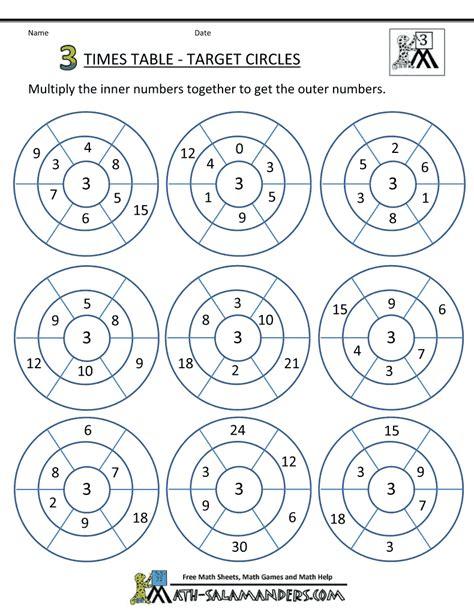 printable times table 3 times table sheets