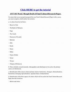 Ant 101 week 3 rough draft of final cultural research paper for Rough draft outline template