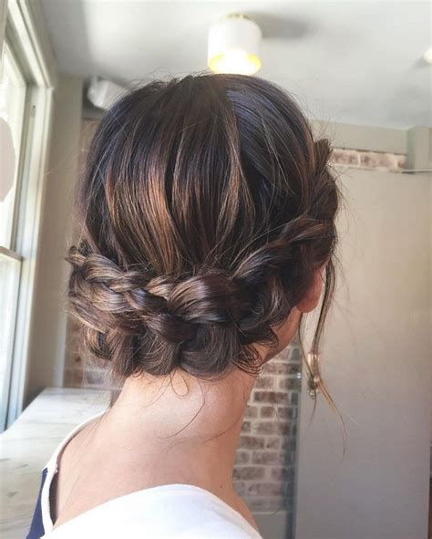 beautiful crown braid updo wedding hairstyle  romantic