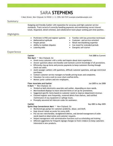Part Time Resume by Best Part Time Cashiers Resume Exle From Professional