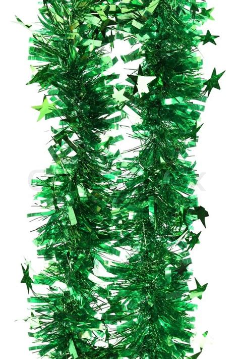 tinsel christmas decoration on a white background