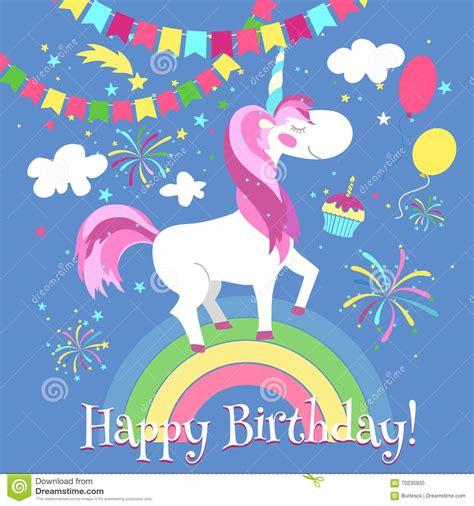 happy birthday card  cute unicorn vector template