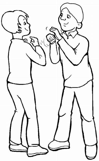 Talking Coloring Pages Talk Disability Language Sign