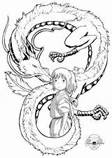 Chihiro Spirited Coloring Away Tattoo Anime Ghibli Studio Haku Miyazaki Tattoos Voyage Dibujos Dragon Deviantart Viaje Latorre Maria Tatuagem Viagem sketch template