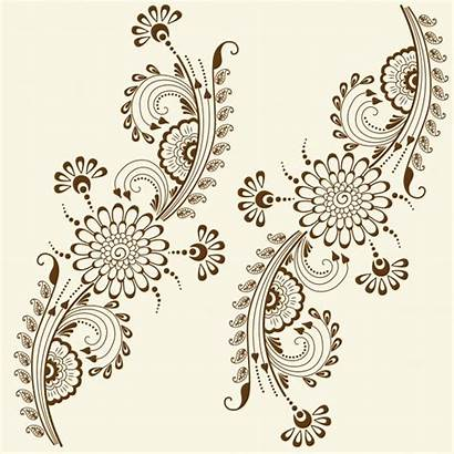 Henna Mehndi Indian Vector Tattoo Traditional Floral