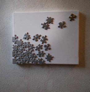creer  tableau avec  vieux puzzle meubles  objets