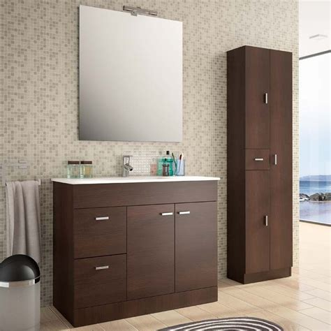 meuble salle de bain 100 cm plan vasque porcelaine wenge estoril