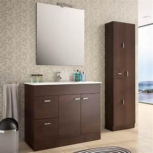 meuble salle de bain 100 cm plan vasque porcelaine wenge With plan vasque salle de bain 100 cm