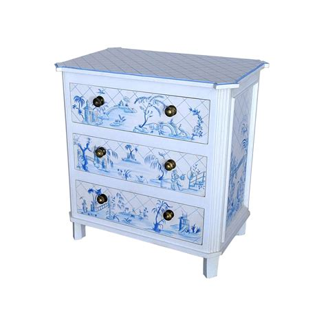 beautiful white chest of drawers with blue toile de jouy