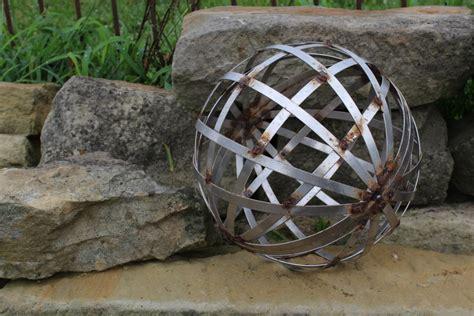 garden silver balls 12 quot metal silver ball industrial look home or yard decor