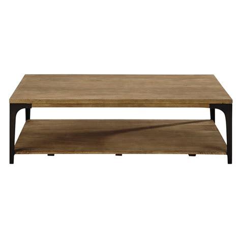 table basse en cagette table basse en manguier massif et m 233 tal l 130 cm