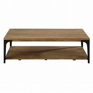 Table basse en manguier massif et metal l 130 cm for Table basse en manguier