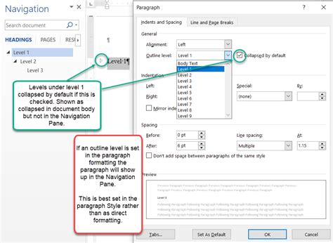 styles word microsoft text body levels different three heading navigation pane which single various
