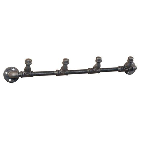 ldr industries pipe decor black iron  hook coat rack kit