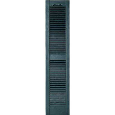 12 in x 55 in louvered vinyl exterior shutters pair in
