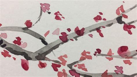 Acuarela Dibujo de una rama de cerezo en flor YouTube