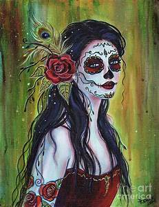 Lila Day Of The Dead Art Painting by Renee Lavoie