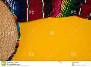 Mexican Sobrero And Serape Blanket On Yellow Background ...