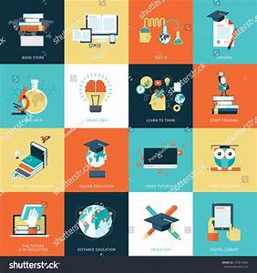 Set Flat Design Icons Education Icons Stock Vector ...