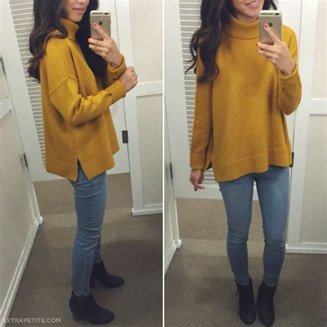 Casual fall outfit idea - slouchy cozy mustard sweater + skinny jeans + booties #loft   fitting ...