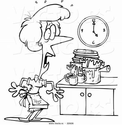 Kitchen Messy Cartoon Coloring Clipart Clean Clip