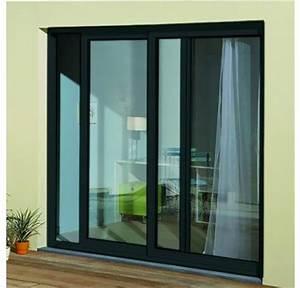 baie coulissante en aluminium h215 l240 gris anthracite rpt With porte de garage coulissante avec porte fenetre pvc petit carreaux