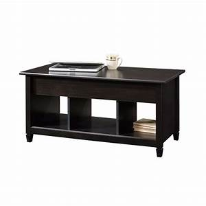 Black wood finish lift top coffee table with bottom for Dark wood lift top coffee table