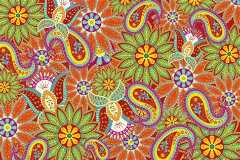 vibrant paisley wallpaper pattern walls  murals