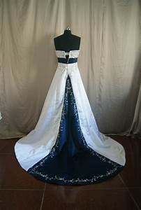 beaded bridal gowns with color With navy and white wedding dress