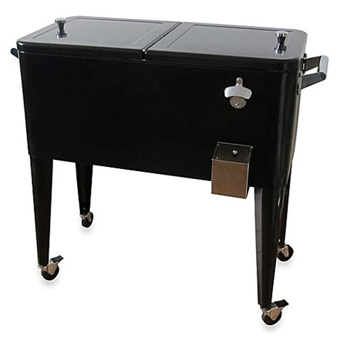 buy 80 quart steel patio cooler in black from bed bath